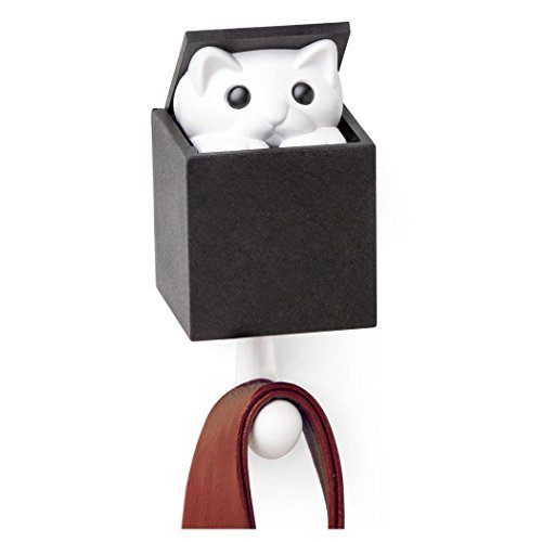 (Qualy Kitt-a-Boo Peeping Cat Wall Hook Coathook Hanger Black Brown (Black))