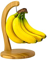 Totally Bamboo Banana Hanger, 100% Bamboo Stand with Steel Hook