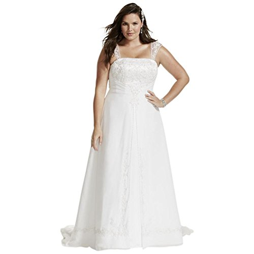 David's Bridal A-Line Plus Size Wedding Dress with Cap Sleeves Style 9V9010, White, 30W