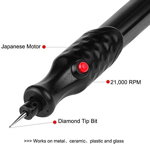 Red Electric Engraving Pen Carve Tool Battery Powered with Diamond Tip Bit