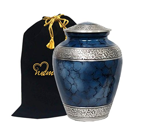 Memorials4u Elite Cloud Blue and Silver Cremation Urn for Human Ashes - Adult Funeral Urn Handcrafted - Affordable Urn for Ashes - Large Urn Deal. (Brass Lid Solid)