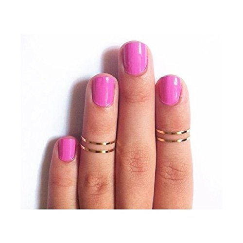 [7pcs Simple Gold-Tone Shiny Cute Gothic Punk Stack Plain Above Knuckle Midi Finger Band Rings Joint Mid Ring Set Tip Stacking Rings (Gold)] (Simple Stack)