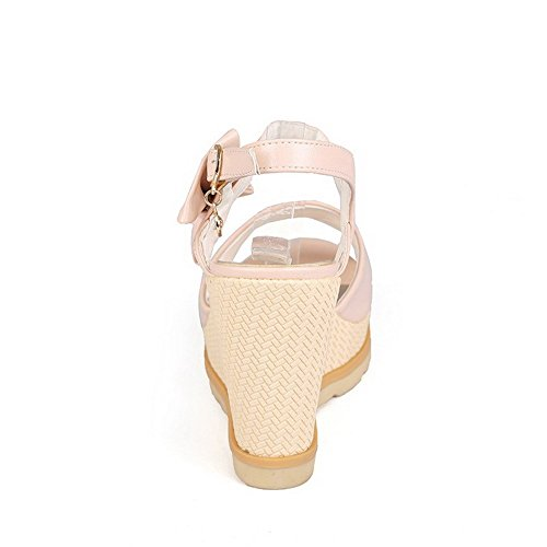 Soft AllhqFashion Material Solid Women's Toe Peep Metal Heels Sandals Pink High 5BBZqrw7n