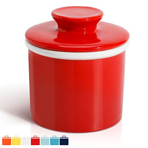 (Sweese 3114 Porcelain Butter Keeper Crock - French Butter Dish - No More Hard Butter - Perfect Spreadable Consistency, Red)