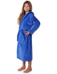 Kids Terry Velour Bathrobe For Girls and Boys, Hooded, 100% Cotton, Made In Turkey