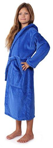 Indulge Linen Kids Terry Velour Bathrobe, Hooded, 100% Cotton, Made In Turkey (Royal Blue, L) (Cotton Linen Robe)