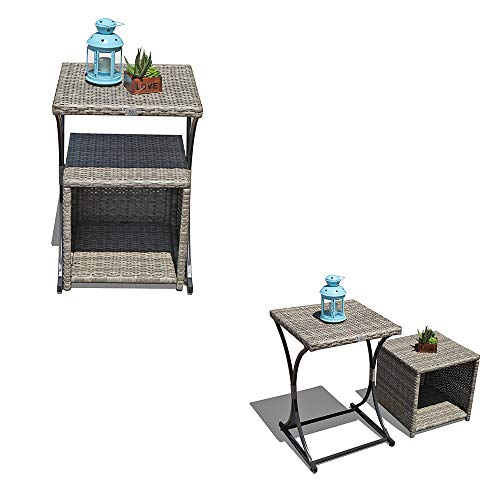OC Orange-Casual 2 Pcs Patio Wicker Nesting Tables Outdoor Sofa Snack Side End Side Table | Storage Function | Garden Lawn Living Room, Grey Gradient