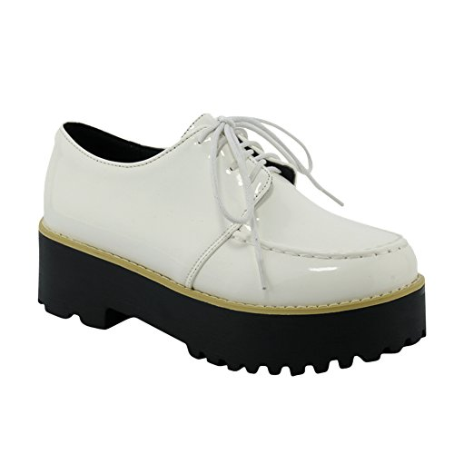 Leather Shoes Latasa up Women's Oxfords Lace Platform White Faux Eqnvq0
