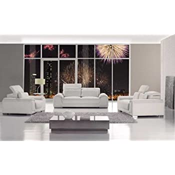 T93 Contemporary White Leather Sofa Set