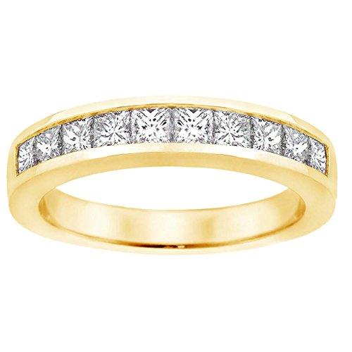 VIP Jewelry Art 1.00 CT TW Channel Set Princess Cut Diamond Anniversary Wedding Ring in 14k Yellow Gold - Size - Princess 1 Ct Diamonds Tw