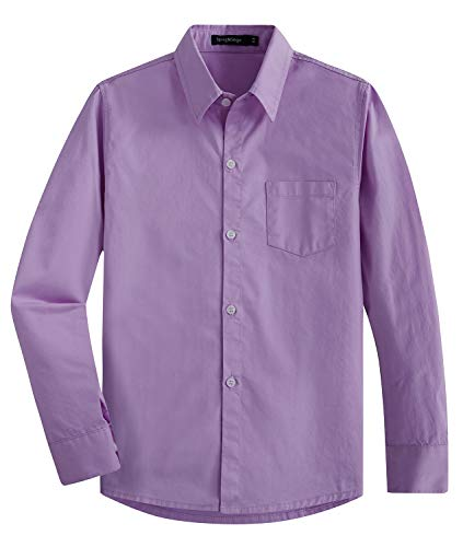 Spring&Gege Boys' Long Sleeve Solid Formal Cotton Twill Dress Shirts Lilac 5-6 Years