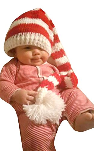 Red Hats Crochet Hat (Baby Red White Outside Crochet Stocking Hat Baby Photograph Props Redwhite One Size)