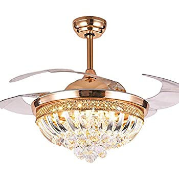 42 Inch Retractable Crystal Ceiling Fans Light With Remote Control 3 Color Change 4 Blade
