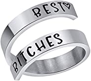 Keep Going Engraved Inspirational, Kucheed Open Adjustable Finger Ring, Surgical 316L Stainless Steel Statemen