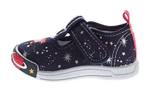 Kinder Knöchel Leinen Schuhe Klettverschluss halbhoch Hausschuhe Jungen Mädchen Gr. 19-24 Dunkelblau