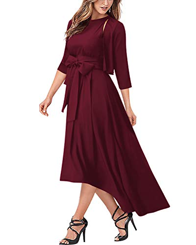 AUTCY Jacket+Belt+Dress Formal Asymmetrical Long Dresses for Women (L, Wine Red)