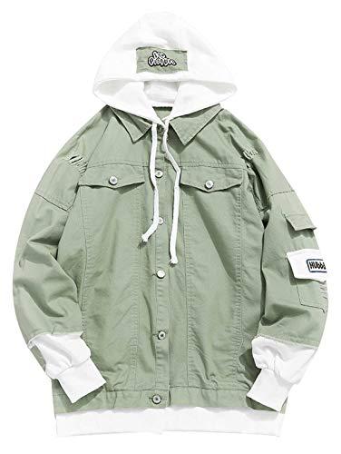 ZAFUL Mens Dyed Denim Button-Down Jacket Green 3XL