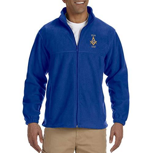 Prince Hall 1787 Embroidered Masonic Men's Fleece Full-Zip Jacket - [Royal][X-Large] -