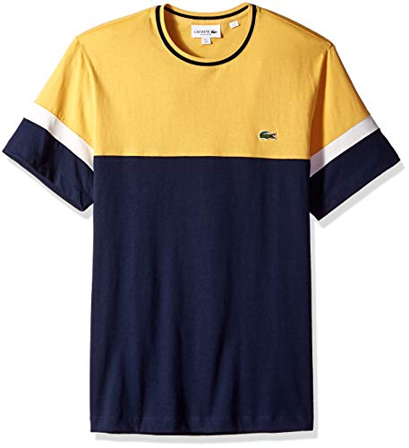 (Lacoste Men's S/S Colorblock Jersey T-Shirt Shirt, Navy Blue/PHYSALIS Flour, 4XL)