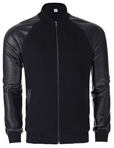 Leather Jacket Fashion (Paul Jones®Men's Shirt Men's Cotton Baseball Bomber Jacket Slim Fit Stand Collar XL PJ0047-1)