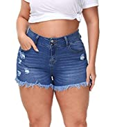 ALLEGRACE Sexy Plus Size Denim Shorts Women Distressed High Waist Shorts with Pockets