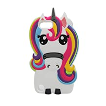 iPod Touch 6 Case, iPod Touch 5 Cover,Nico&Z 3D Cartoon Rainbow Colorful Unicorn Horse Soft Silicone Rubber Animals Bumper Protective Back Phone Shell Skin for Apple iPod 6th/5th Generation