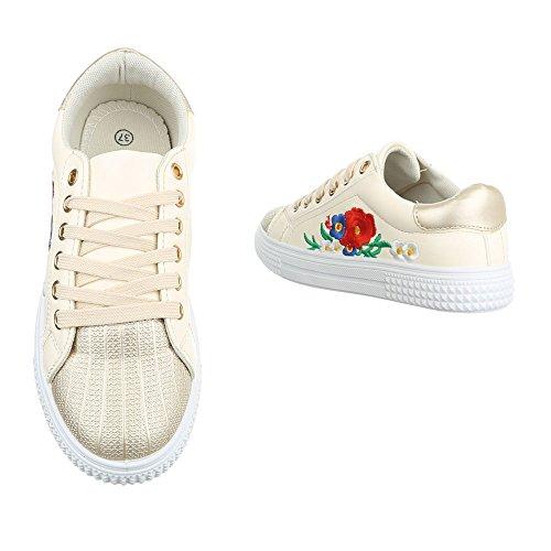 Damen Freizeitschuhe Schuhe Sportschuhe Turnschuhe Sneaker Laufschuhe Gold Pink Weiß 36 37 38 39 40 41 Modell Nr1 Gold