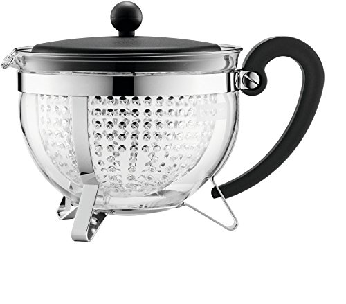 Bodum Darjeeling Large Tea Pot, Black Plastic Lid and Stainless Steel Frame, 1.3Litre, 44-Ounce