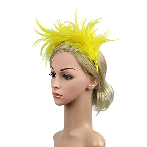 NszzJixo9 Vintage Colorful Burlesque Headpiece Flapper Ostrich Feather Fancy Headband Perfect Gift (Yellow) -