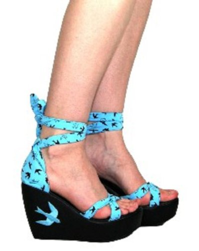 Too Fast Flying High Swallows Wedge Sandals - Blue jtBS4