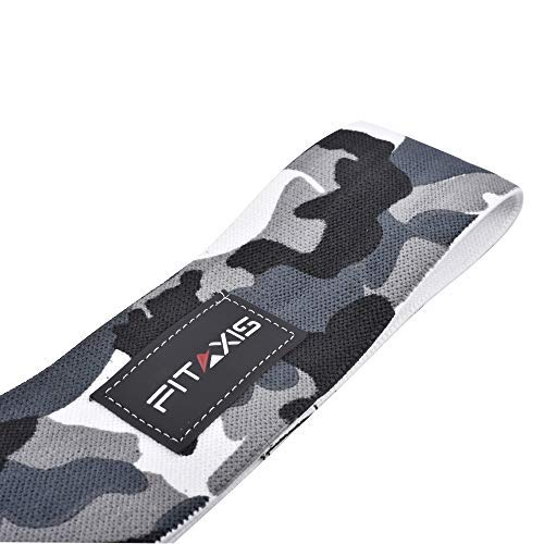 FITAXIS Hip Bands Circle - Heavy duty Cotton,Polyester Blend with Non Slip Rubber for Legs, Glute, Thights,Boottie traning, Deadlift,weightlifting,Youga perfect for Men's & Women's (CAMO GRAY, M-28)