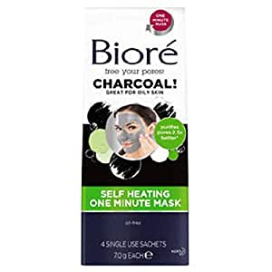 Biore Self-Heating One Minute Mask With Charcoal 4 Single Use Packs