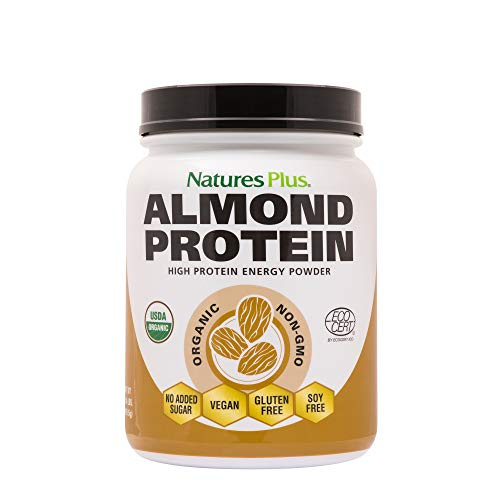 NaturesPlus Almond Protein Powder - 1.04 lbs, Unflavored - USDA Certified Organic, Non-GMO Vegan Protein Powder, No Added Sugar, Promotes Muscle Recovery - Vegetarian, Gluten-Free - 15 Servings ()