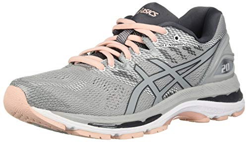 ASICS Women's Gel-Nimbus 20 Running Shoe, mid grey/mid grey/seashell pink, 8.5 Medium US
