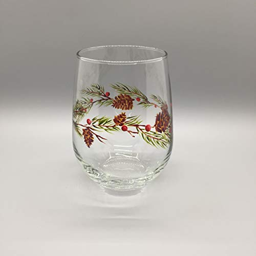 - Pine Cone and Berries Painted Stemless Glass