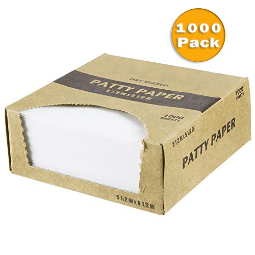 (Netko Waxed Butcher Paper Sheets | Hamburger Patty, Fresh Meat, Deli, Cheese & Cookie Dough Quick Release Separator | Freezer & Thawing Kitchen Supplies | 1000 Non-Stick Wax Paper Squares Per)