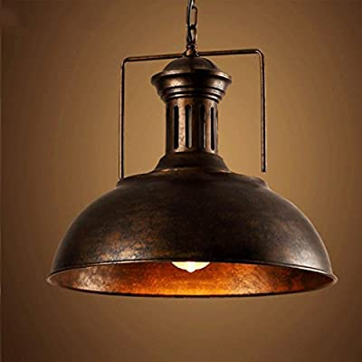 Industrial Nautical Barn Pendant Light-LITFAD Single Pendant with Frosted Diffuser Dome/Bowl Shape Mounted Fixture in Black