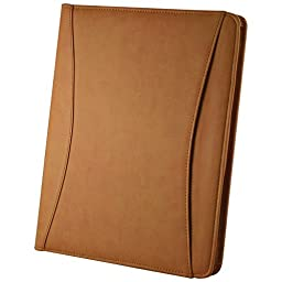 Preferred Nation Preferred Nation Zip-Around Padfolio Note Pad Holder Tan
