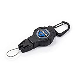 T-REIGN Small Retractable Gear Tether, Carabiner, 24 Inch Kevlar Cord, Black Polycarbonate Case, Universal Attachment
