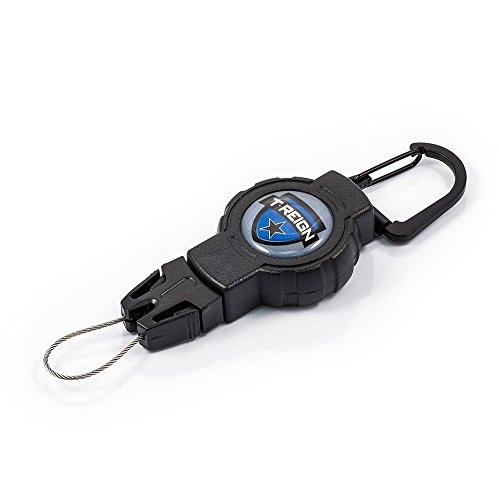T-REIGN Outdoor Small Retractable Gear Tether, Carabiner, 24 Kevlar Cord, 4 oz. Retraction, Black Polycarbonate Case, Universal Attachment