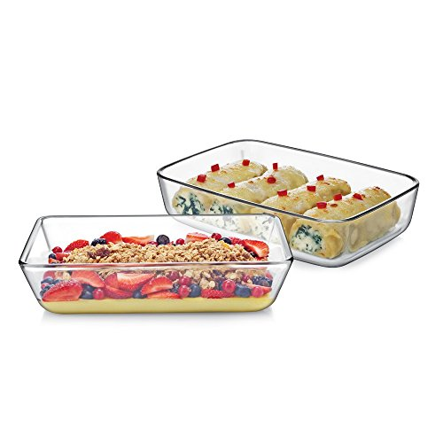 Cello Prego Dahlia Borosilicate Glass Baking Dish Set, 700ml, Set of 2, Clear