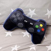 Game Over Gamecontroller kussen zwart/blauw, geborduurd, 100% polyester, in plastic zak.