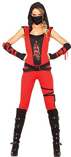 Leg Avenue Women's Ninja Assassin Catsuit Movie Theme Fancy Dress Halloween Costume, L (12-14)
