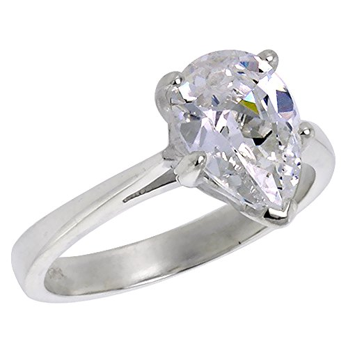 Sterling Silver Cubic Zirconia Pear Cut Solitaire Engagement Ring 1/2 ct, size (Pear Cut Cubic Zirconia Solitaire)