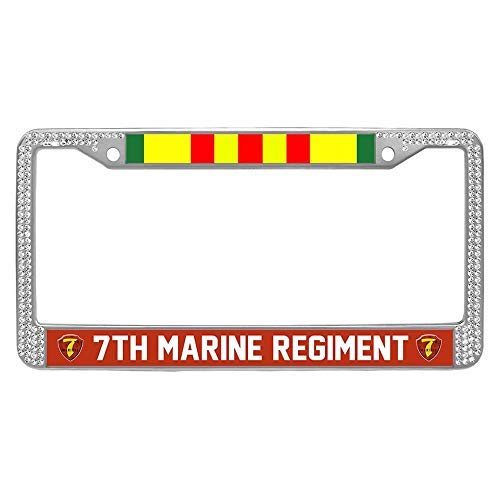 (GRAETfeoglsd 7th Marine Regiment Vietnam Veteran License Plate Frame Holder, US Marine Corps Bling Aluminum Car Tag Frame)