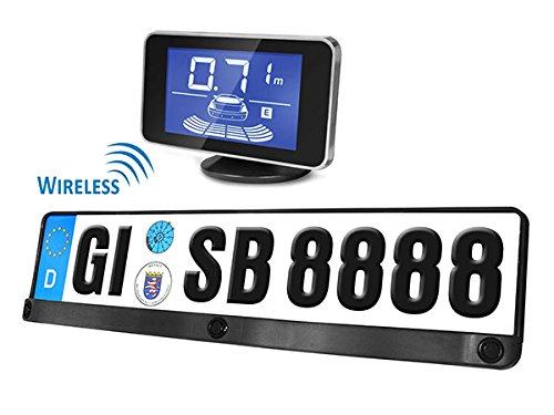 Kit 3 Sensori Di Parcheggio Wireless Senza Filo Portatarga Standard EU Display Led Cicalino&#8230, CARALL
