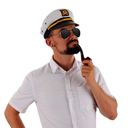 Largemouth Men's Yacht Sea Captain Costume Pipe, Sunglasses, and Hat ()