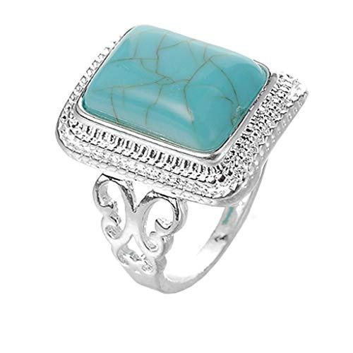 (Londony◈ Retro Geometric Simulated Gemstone Ring Filled Huge Turquoise Ring Wedding Anniversary Ring Jewelry)