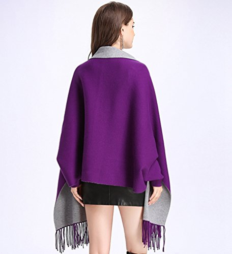 Punto Del De Creativo Cárdigan Suéter Pañuelos gris Morado De Chal Mujeres WanYang Mujer Abrigo Bordados Para qCUzEw