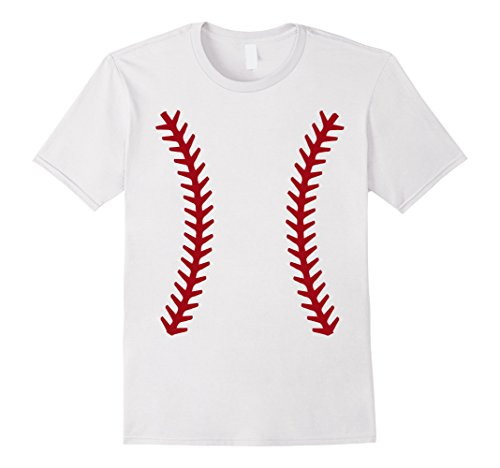 Mens Baseball Halloween Costume Tshirt Sports Ball Shirt XL White